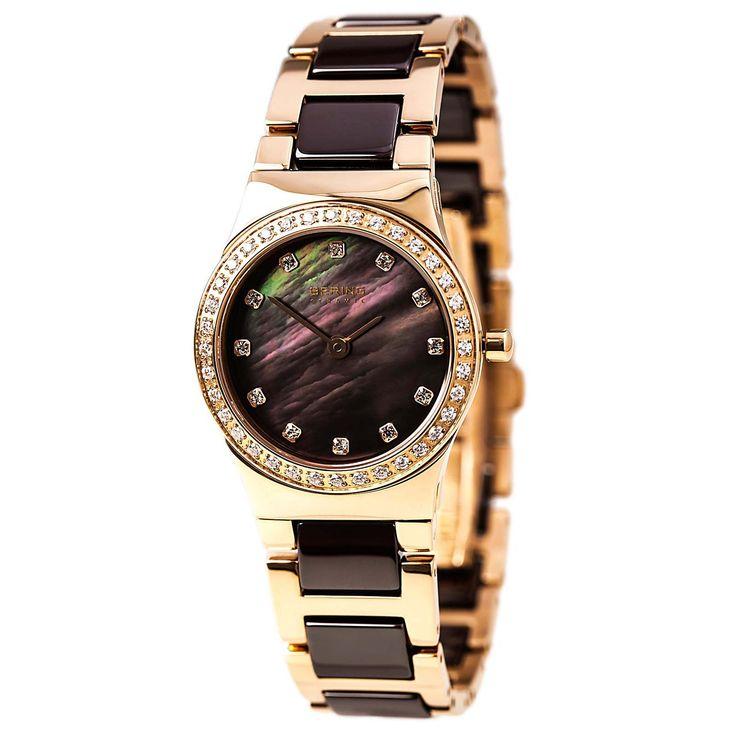 Bering 32426-765 Women's Ceramic Quartz MOP Brown Dial Rose Gold Steel & Ceramic Bracelet Watch