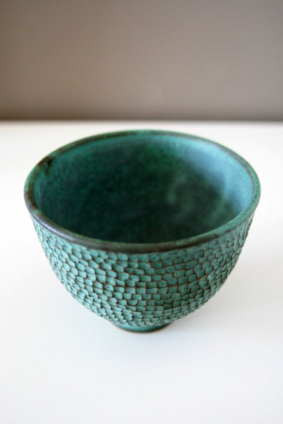 carved copper verdigris bowl