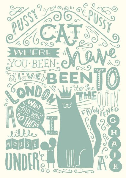 """A4 Art Print - """"Illustrated Nursery Rhyme: Pussy Cat, Pussy Cat"""" - Art Print / Typography / Hand Lettering"""