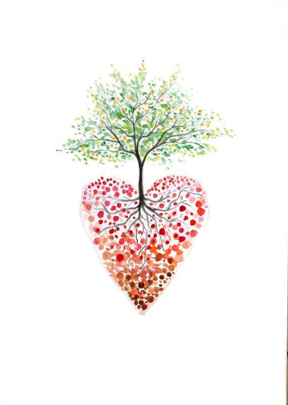 Tree Of Life Art Heart Tree Watercolour Print Heart Painting