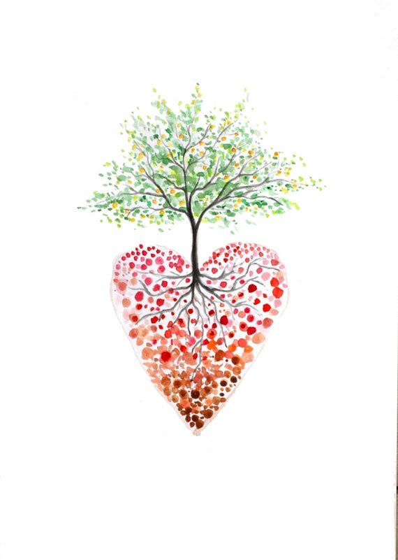 Tree Of Life Art Heart Tree Watercolour Print Heart Painting