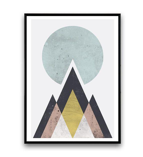 Impresión montañas abstracto Arte PARED geométrica por Wallzilla