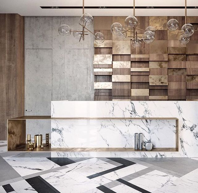 What A Slick Design   Marble With The Brass   Contemporary Slickness And  Check Out The Feature Wall.