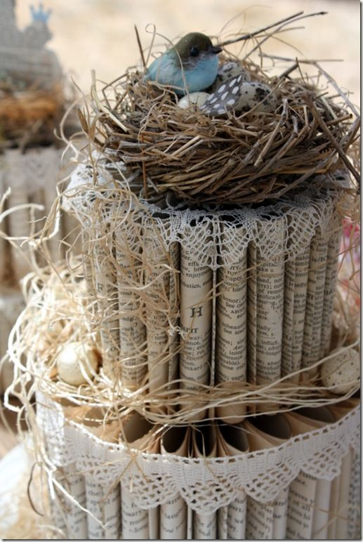Not sure what this was used for, but love the paper cake with the bird nest top. I could see it being used as decor for a bridal shower, or part of your home decor if you have a shabby chic look.