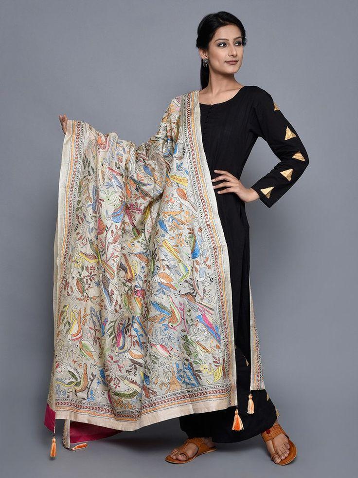Multi Color Harlequin Flight Kantha Silk Dupatta