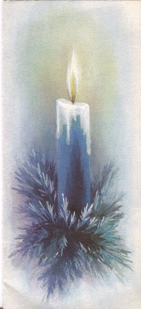 Vintage Hallmark Christmas Card - Blue Candle