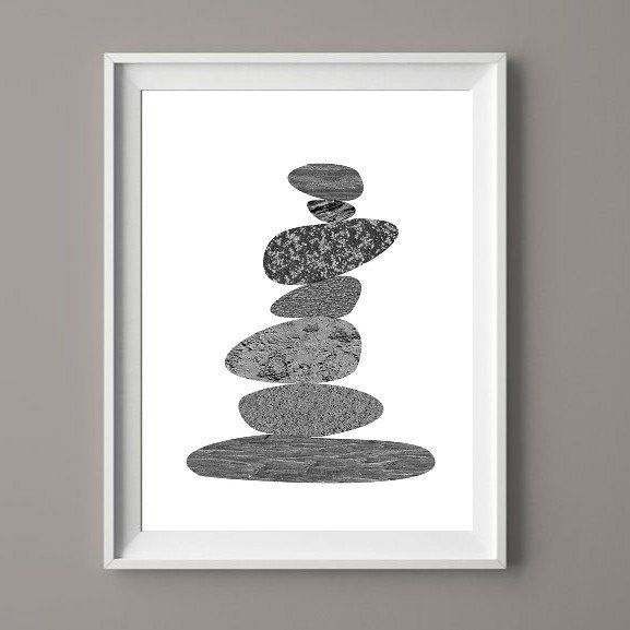 Stone Stack Cairn - Printable Art for Download  #art #printable  #cairn  #hdmeco  #prints #southafricanart