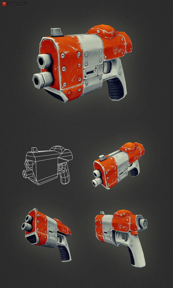 Low Poly SciFi Pistol Dual Barrel Armas, Low poly