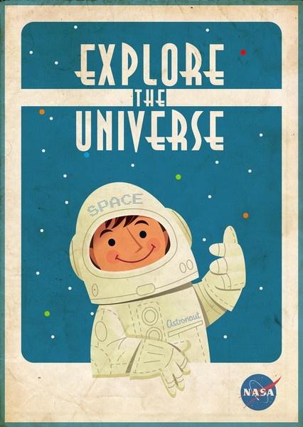 Design an spacesuit - design an advertisement. NASA vintage promo