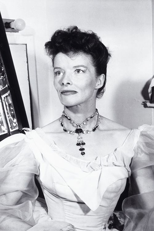 Katharine Hepburn wearing the Inquisition necklace by Harry Winsto