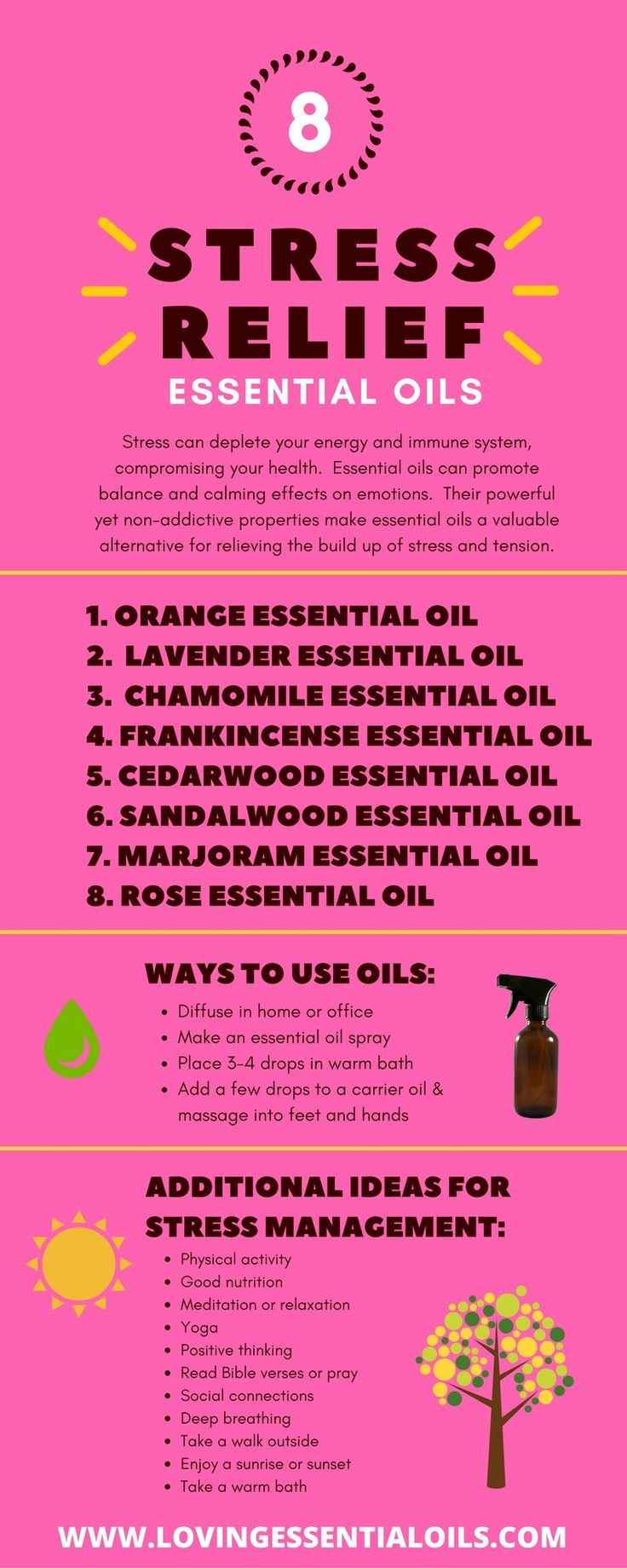 8 Stress Relief Essential Oils Infographic http://www.lovingessentialoils.com/blogs/essential-oil-tips/top-8-stress-relief-essential-oils  Emotional and mental stress can be especially damaging to your body's immune system, leading to diseases. Learn about the top 8 Stress Relief Essential Oils.