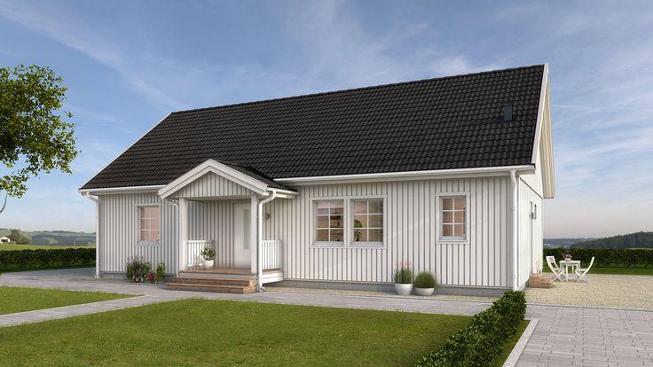 Pohjaratkaisun perusta on kaksi makuuhuonetta ja tilava olohuone. Suuri keittiö toimii myös ruokailutilana ja koko perheen viihtyisänä kokoontumispaikkana.