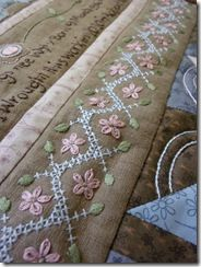 Times Gone By - embroidery sampler BOM by Hugs 'n Kisses - This is lovely.  The colors are perfect against the natural linen.