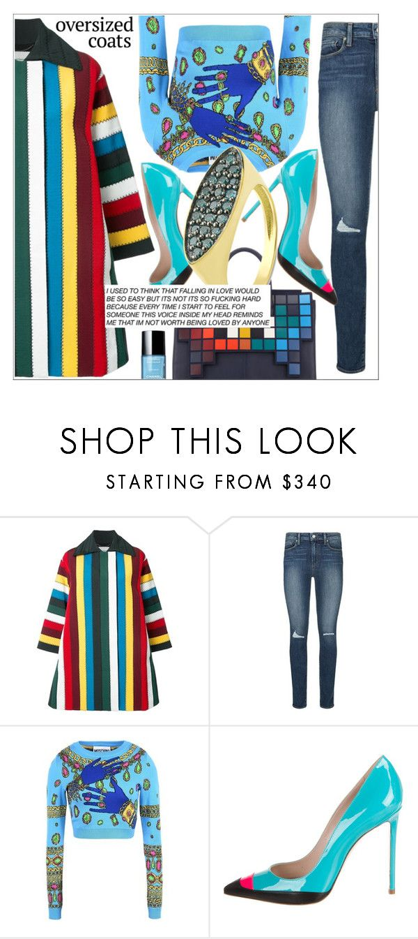 """Anastazio- Oversized Coats"" by anastazio-kotsopoulos ❤ liked on Polyvore featuring Handle, Mary Katrantzou, Paige Denim, Moschino, Ruthie Davis, Anastazio, Unique, vogue and luxury"