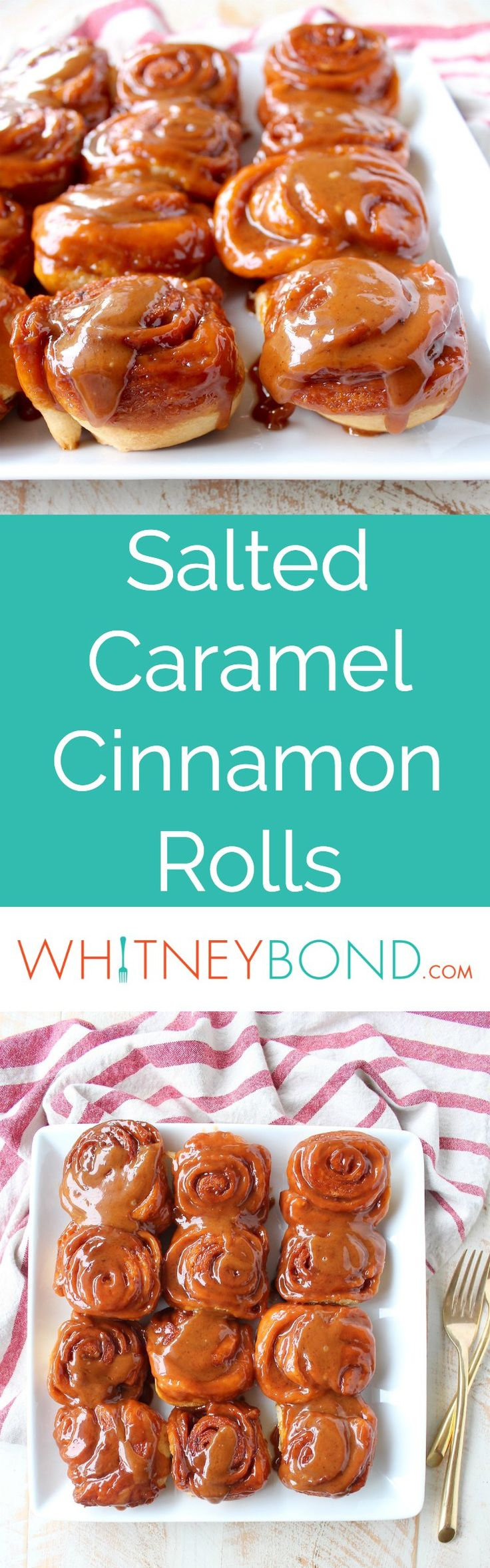 Salted Caramel Cinnamon Rolls are sweet, decadent and delicious, they're made with canned crescent roll dough for an easy breakfast or brunch recipe! Served with @worldmarket Gold Wave Forks #WorldMarketTribe