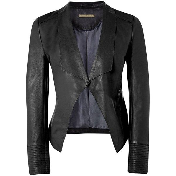 Richards Radcliffe - Oxshott Leather Jacket Black ($690) ❤ liked on Polyvore featuring outerwear, jackets, real leather jackets, waterfall leather jacket, 100 leather jacket, stitch jacket and leather jackets