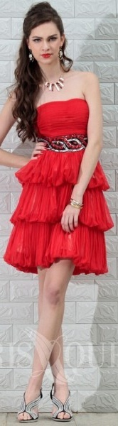 Fashion Red Strapless Homecoming Gown Knee-Length Sleeveless Silk Chiffon Beading Cocktail Dress #strapless #red #cocktail #dress