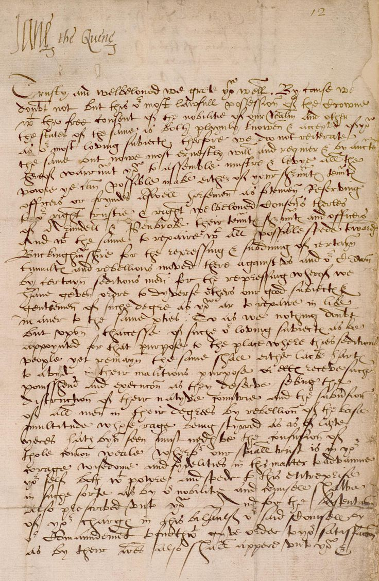 Letter from Jane Grey proclaiming herself as Queen