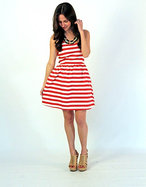 red and white party dress