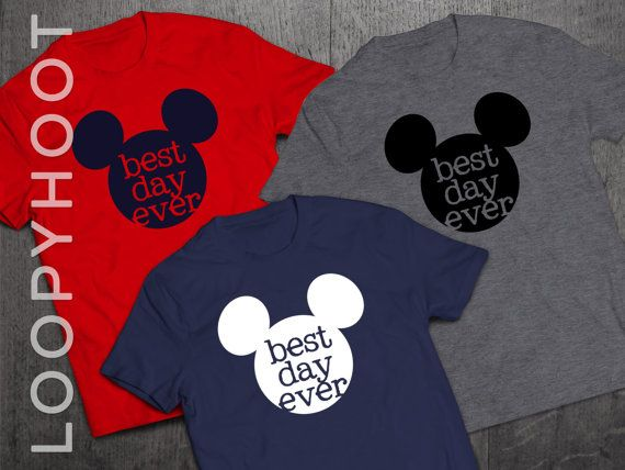 """Disney Shirts """"Best Day Ever"""" Mouse Ears Family Vacation shirt in NAVY, RED or GRAY -- T-shirt, Disney World, Disneyland, Cruise, Park"""