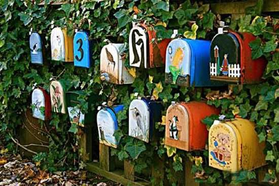 colorful vintage mailboxes I could see this being lots of fun for kids in the garden.