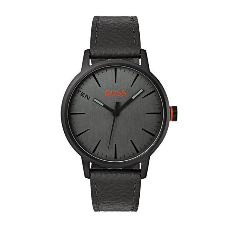 Ανδρικό ρολόι HUGO BOSS ORANGE 1550055 με ανθρακί καντράν με μαύρες λεπτομέρειες & λουρί από μαύρο δέρμα | HUGO BOSS ρολόγια ΤΣΑΛΔΑΡΗΣ στο Χαλάνδρι #boss #orange #ανθρακι #λουρι