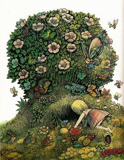 "When I was a child I loved Astrid Lindgren's fairy tale ""Kultasiskoni"" (original: Allrakäraste Syster). I thought that Hans Arnold's illustrations were magical, melancholically beautiful — I still do."