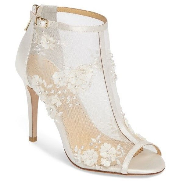 Women's Bella Belle Peep Toe Bootie Pump ($375) ❤ liked on Polyvore featuring shoes, pumps, ivory fabric, high heel stilettos, sparkly pumps, wrap shoes, ivory pumps and stiletto pumps