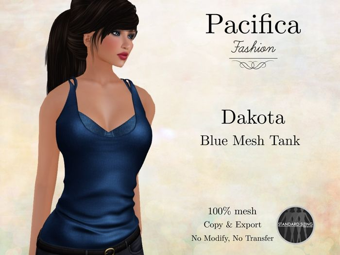 The Dakota Blue Mesh Tank offers at Pacifica Fashion in the Market of Kitely, a virtual world where you can explore worlds, create ones, customize your avatar, meet interesting people, have fun, learn new things, conduct meetings, shop and earn money.