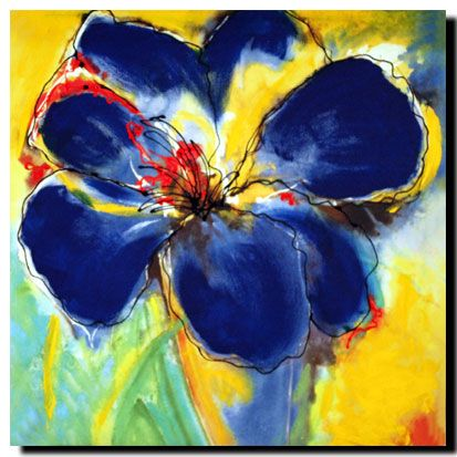 Abstract Hyacinth, Blue, Enhanced black, red and white on #canvas Price: $40 Ships worldwide  http://www.thecanvasartfactory.com.au
