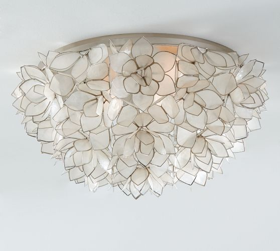 """Ordered for my office maybe - Pottery Barn - Capiz Floral Oversized Flushmount Ceiling Fixture Item: 1629096 Price: $399  Overall: 23"""" diameter, 11.25"""" high Mounting Plate: 18.5"""" diameter, 1"""" high Bulb (3): 60 watts, type A (not included) Weight: 11 pounds"""