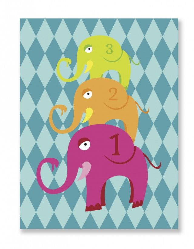 1, 2, 3 little elephants! Poster by My little treasure. #nordicdesigncollective #mylittletreasure #elephant #elephants #one #two #three #123 #onetwothree #count #counting #poster #kidsroom #childrensroom #purple #pink #orange #green #square #print #kidsposter #childrensposter