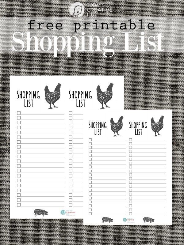 Grocery List Free Printable   Stay organized by having a shopping list for your weekly menu of meals. This modern farmhouse printable shopping list looks as stylish as it is functional! Grab your free grocery list template on TodaysCreativeLife.com Just click the photo.