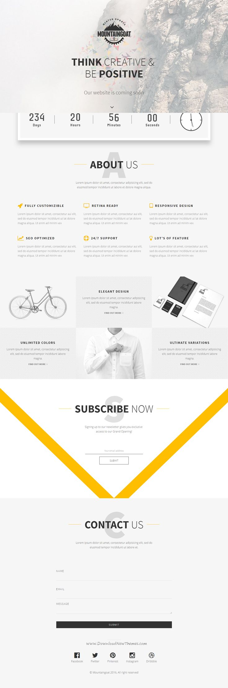Mountaingoat is a Responsive, High Quality Coming Soon / Under Construction HTML5 template built with Bootstrap 3.3. It is clean and very simple to use in your website to notify your audience your launching date and also it helps to be in touch with your site visitors.