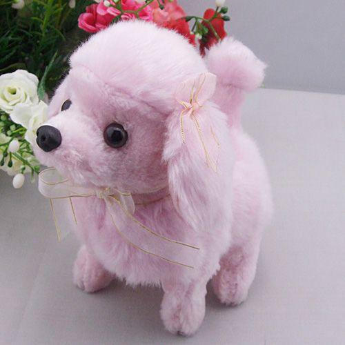 Lifelike Kids Plush Walking Dog Puppy Pink Stuffed Toy with Soundat EVToys.com
