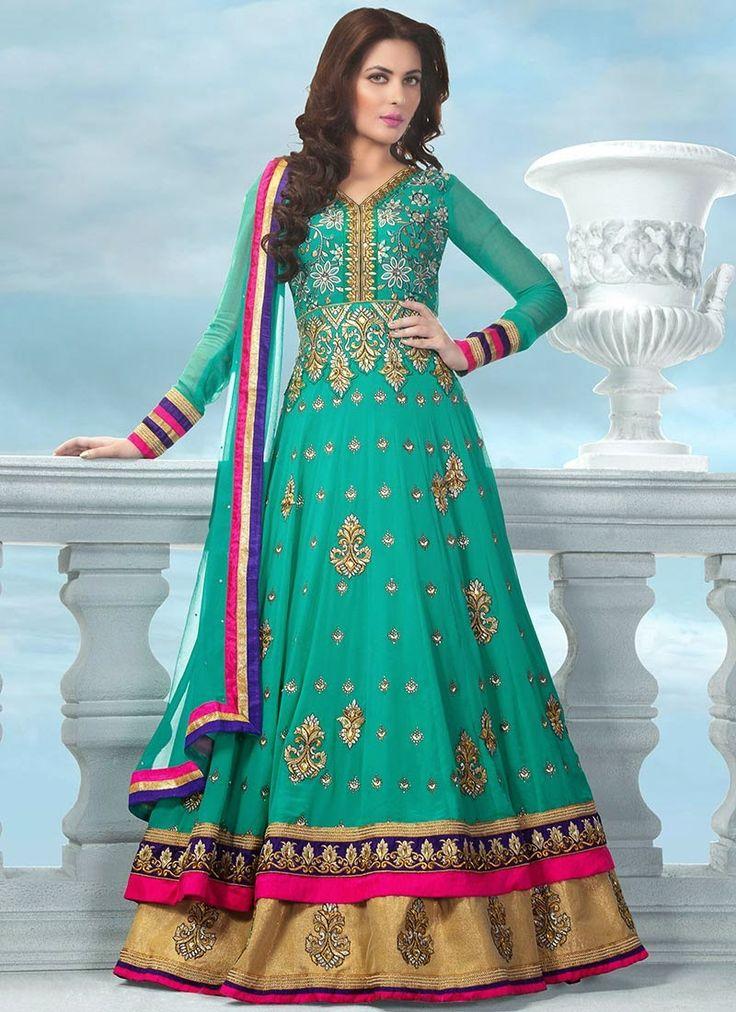 Green #Designer Long #Salwarsuit  Check out this page now :-http://www.ethnicwholesaler.com/salwar-kameez
