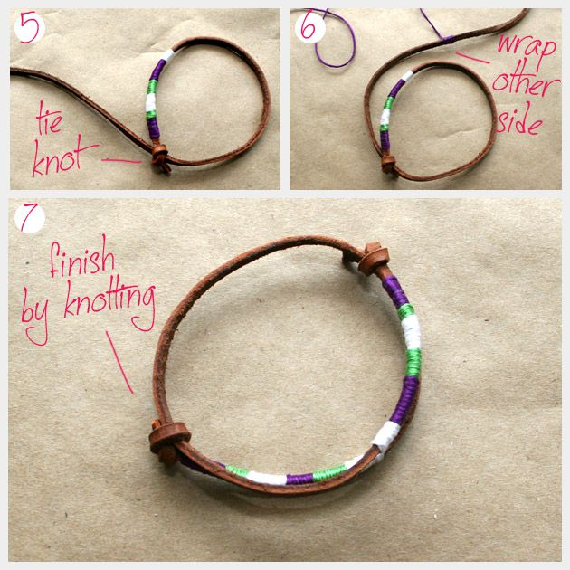 How To Make Leather Friendship Bracelets with a touch of embroidery lace for a pop of color :)