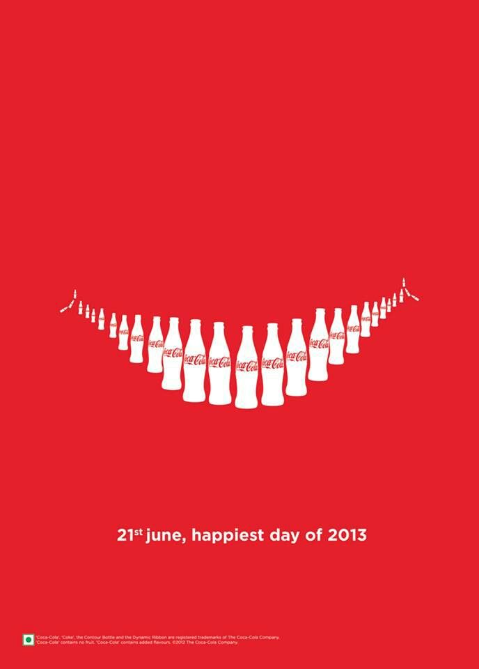 This Coke advertisement uses contrast (white and red color) and repetition (repeat bottles of coke) to strengthen the product. Also its shape looks like a big smile, which is related to happiness.