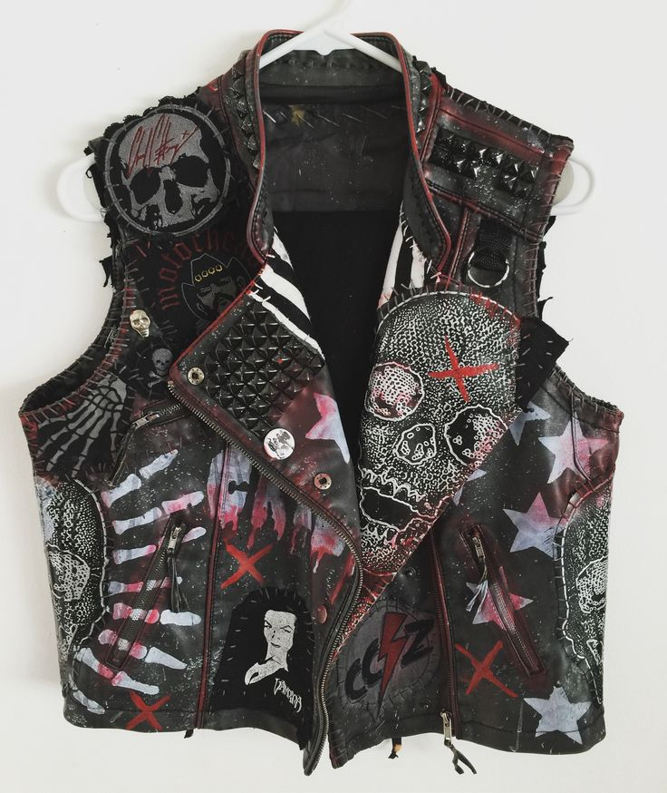Rocker vest. Punk Rock vest. Heavy Metal vest. Studded vest. Vegan Leather vest from Chad Cherry Clothing.