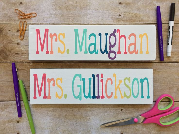Teacher Name Sign, Desk Sign, Classroom Decor, Teacher Decor, Teacher Sign, Door Sign, Teacher Gift, Teacher Appreciation,Painted Wood Sign by ThatInspiredChick on Etsy https://www.etsy.com/listing/512642633/teacher-name-sign-desk-sign-classroom