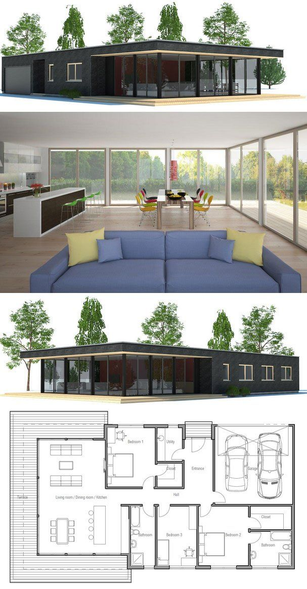 Modern Architecture, House Plan with three bedrooms. Floor Plan from ConceptHome.com