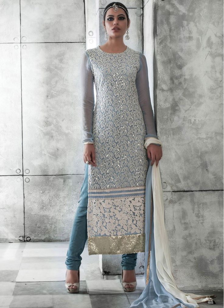 Indian wear festive light blue designer salwar kameez