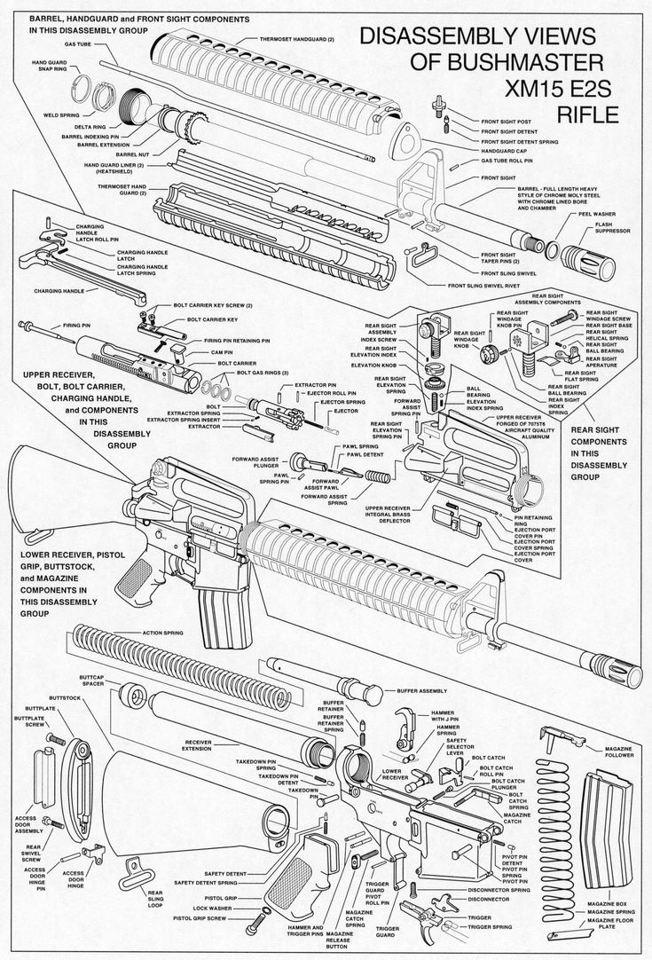 Exploded AR-15 parts diagram. | AR-15 | Pinterest | Guns