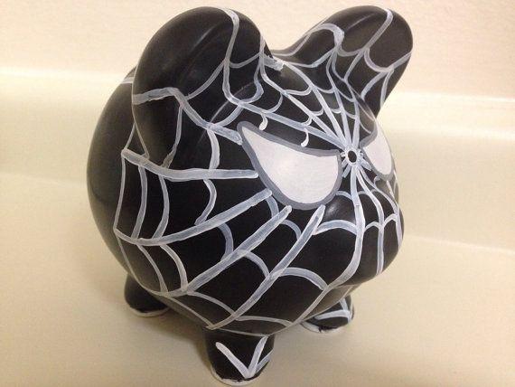 Venom Spider-Man Painted Ceramic Piggy Bank Medium por KaleyCrafts