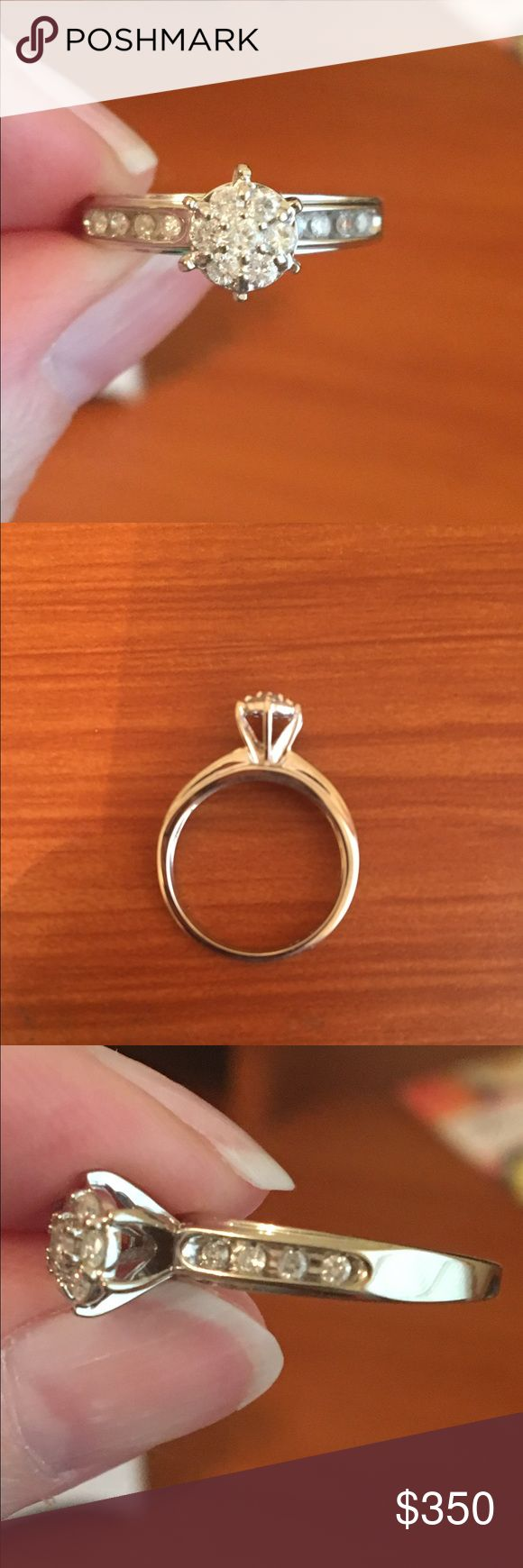 Zales 10 karat white hold 1/2 karat diamond ring! White gold gorgeous diamond cluster ring purchased at zales 1/2 karat has four small diamonds on each side size 7😄💍 Zales Jewelry Rings