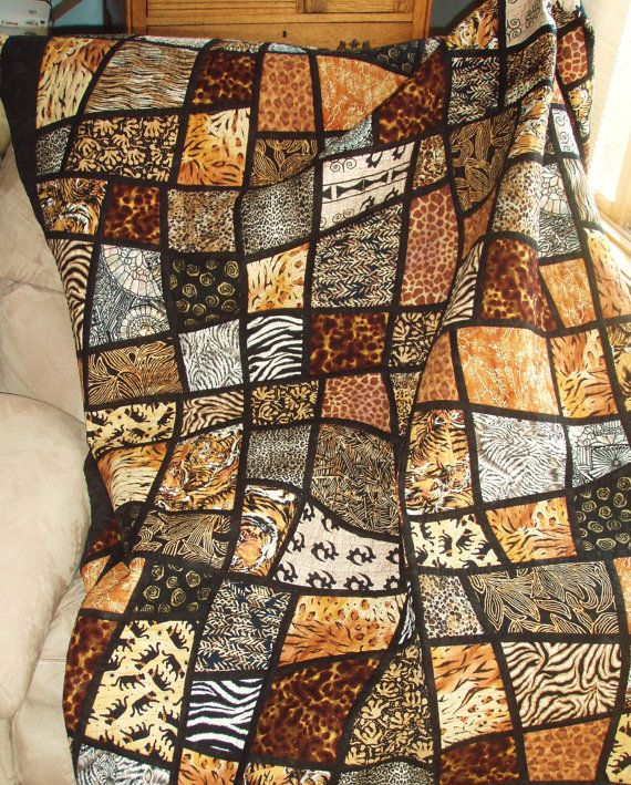 Twin Size Bed Quilt  Jungle Animal Prints in Mosaic door nhquiltarts