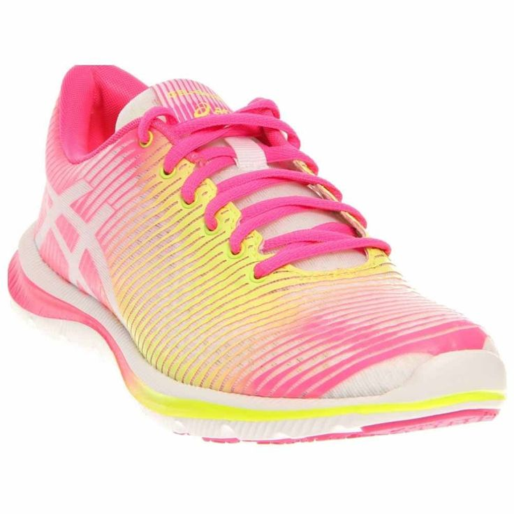 ASICS Women's GEL-Super J33 Running Shoe,White/Flash Yellow/Hot Pink,6 M US. Lace-up running shoe featuring seamless upper with padded tongue and collar. F.A.S.T lightweight, low-profile responsiveness. Solyte lightweight midsole. FluidAxis anatomically-correct flex grooves. AHAR+ high-abrasion outsole.