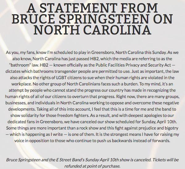 Bruce Springsteen North Carolina