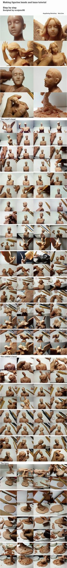 Figurine WIP\ tutorial part 6 heads + base final by sculptor101