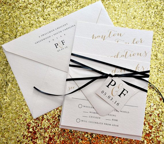 this is our astoria wedding invitation suite with ribbon tie and, Wedding invitations